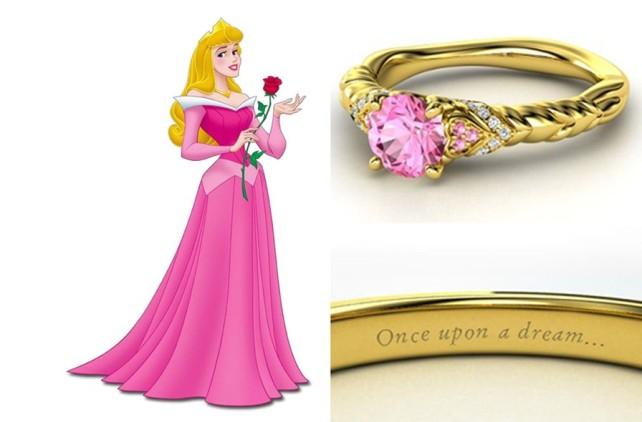 Como não amar essa delicadeza de aliança da Bela Adormecida com turmalina e safira rosa e diamantes?