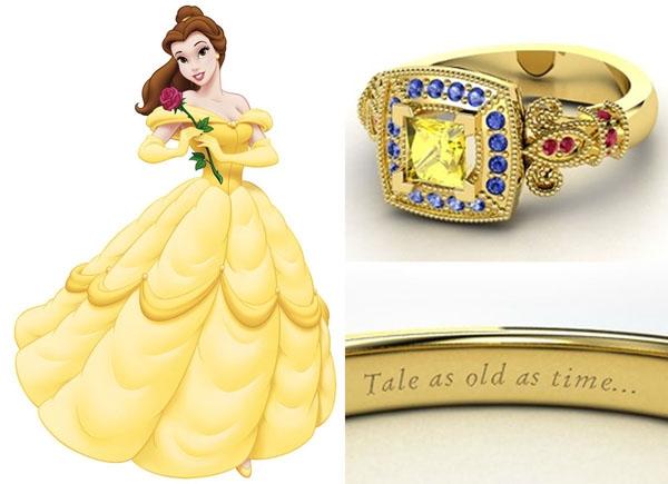 O anel de Bela é digno da realeza! Feito com um mix de rubis, safiras amarelas e azuis
